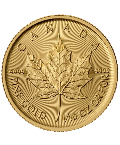 pièce or maple leaf 1/10 oz revers